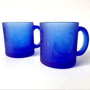 Set of 2 Vintage cobalt blue Celestial mugs